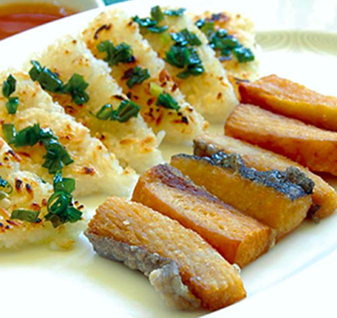 Khô cá dứa 1 nắng chiên ăn kèm cơm cháy